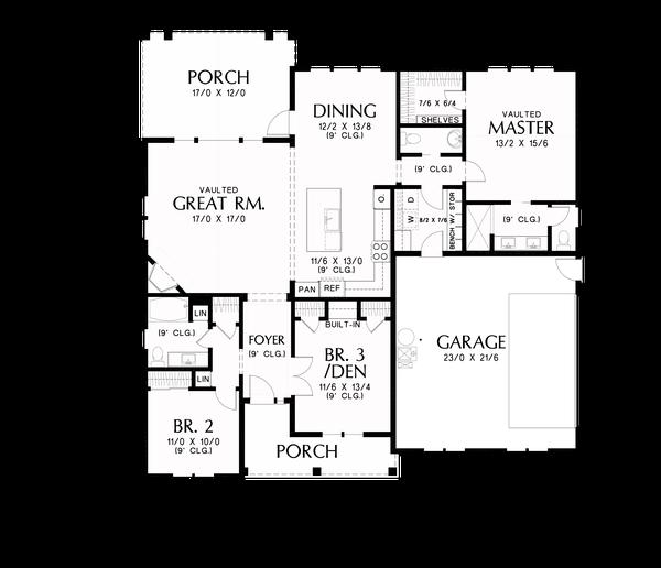 Home Plan - Farmhouse Floor Plan - Main Floor Plan #48-985