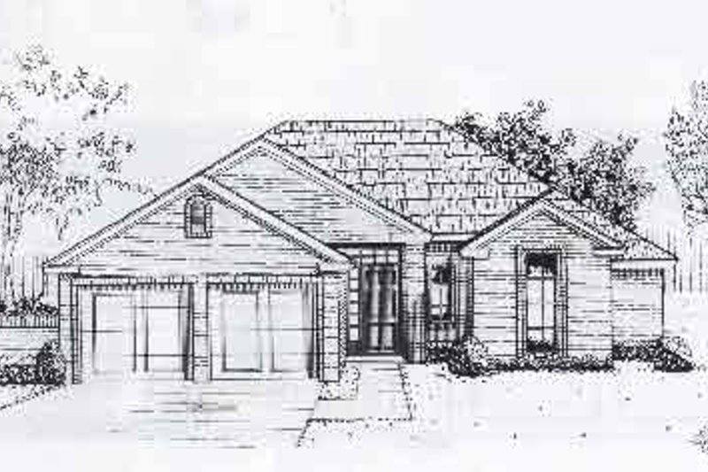Traditional Style House Plan - 3 Beds 2 Baths 1260 Sq/Ft Plan #310-890 Exterior - Front Elevation