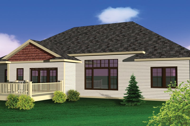 Bungalow Exterior - Rear Elevation Plan #70-1070 - Houseplans.com