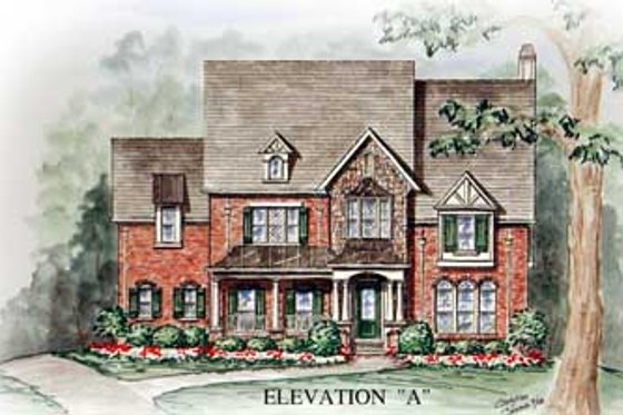 Southern Exterior - Front Elevation Plan #54-154
