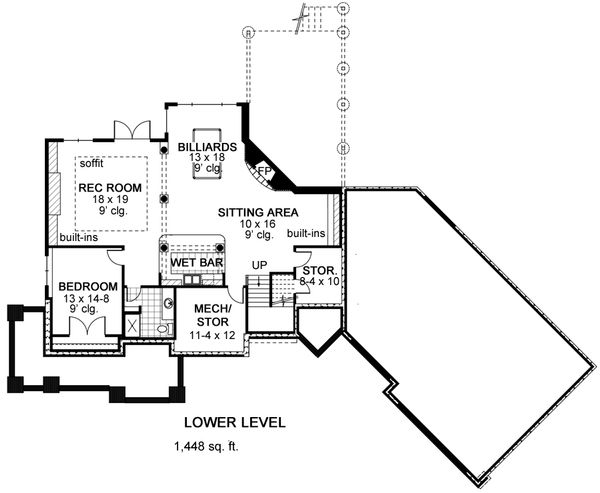Craftsman Floor Plan - Lower Floor Plan Plan #51-576
