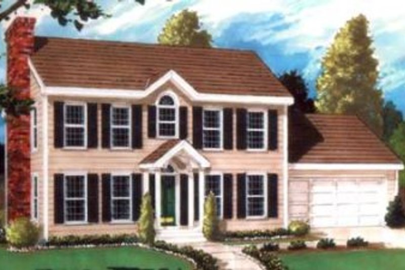 Colonial Exterior - Front Elevation Plan #3-106