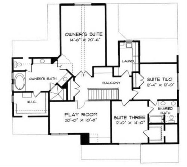 Craftsman Floor Plan - Upper Floor Plan Plan #413-102