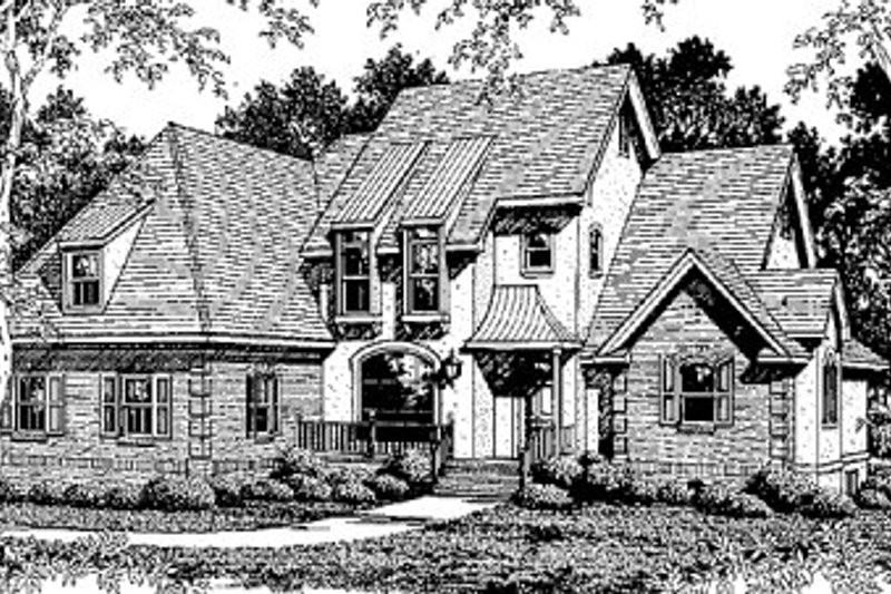 European Style House Plan - 3 Beds 2.5 Baths 2704 Sq/Ft Plan #41-164 Exterior - Front Elevation