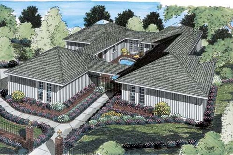 Ranch Style House Plan - 3 Beds 2 Baths 2194 Sq/Ft Plan #312-505 Exterior - Front Elevation
