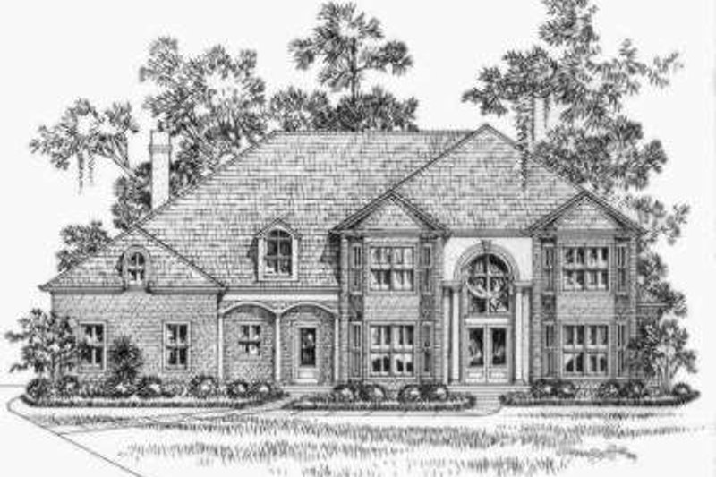 European Style House Plan - 7 Beds 6.5 Baths 5954 Sq/Ft Plan #325-238 Exterior - Front Elevation