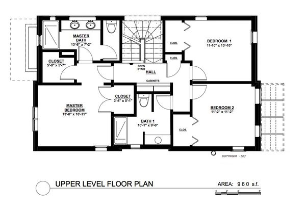 Contemporary Floor Plan - Upper Floor Plan Plan #535-26