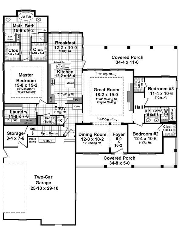 Farmhouse Floor Plan - Main Floor Plan Plan #21-452