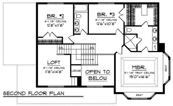 Country Floor Plan - Upper Floor Plan Plan #70-1222
