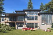 Prairie Style House Plan - 4 Beds 3.5 Baths 4087 Sq/Ft Plan #1066-79 Exterior - Rear Elevation