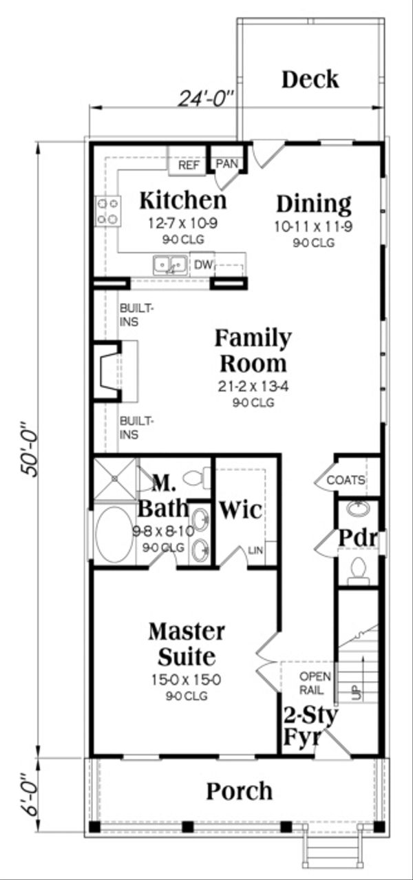 Southern Floor Plan - Main Floor Plan Plan #419-238