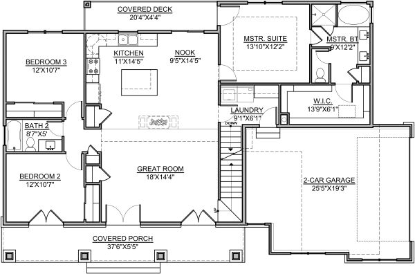 Craftsman Floor Plan - Main Floor Plan Plan #1073-13