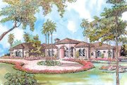 Mediterranean Style House Plan - 3 Beds 3.5 Baths 3631 Sq/Ft Plan #420-118 Exterior - Front Elevation