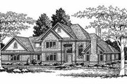 European Style House Plan - 4 Beds 3.5 Baths 3093 Sq/Ft Plan #70-485 Exterior - Front Elevation