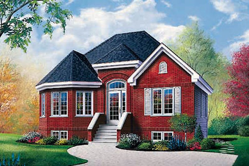 European Style House Plan - 2 Beds 1 Baths 1068 Sq/Ft Plan #23-109 Exterior - Front Elevation