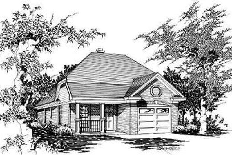 Traditional Style House Plan - 3 Beds 2 Baths 1040 Sq/Ft Plan #329-155 Exterior - Front Elevation