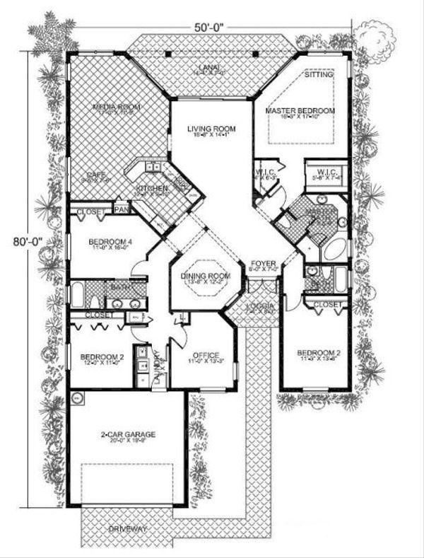 Mediterranean Floor Plan - Main Floor Plan Plan #420-208