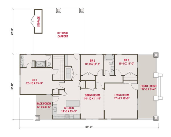 Craftsman Floor Plan - Main Floor Plan Plan #461-57