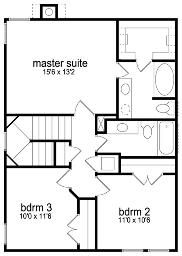 Colonial Floor Plan - Upper Floor Plan Plan #84-544