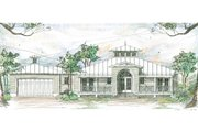 Beach Style House Plan - 3 Beds 3.5 Baths 1997 Sq/Ft Plan #426-14 Exterior - Front Elevation