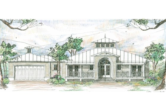 Beach Exterior - Front Elevation Plan #426-14