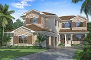 Mediterranean Style House Plan - 4 Beds 4 Baths 5134 Sq/Ft Plan #938-91 Exterior - Front Elevation