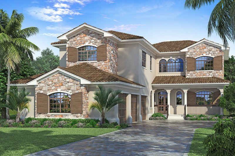 Mediterranean Exterior - Front Elevation Plan #938-91