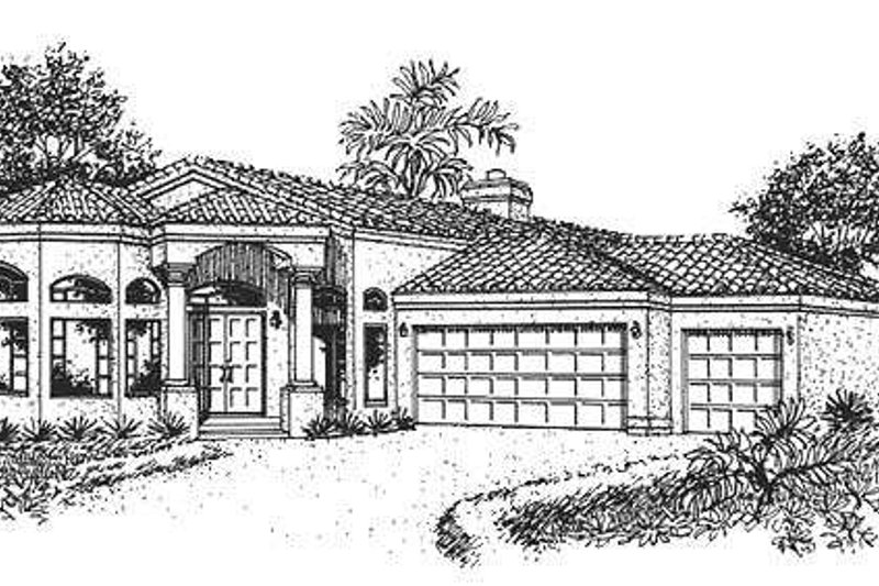 Mediterranean Style House Plan - 3 Beds 2.5 Baths 2508 Sq/Ft Plan #320-148 Exterior - Front Elevation