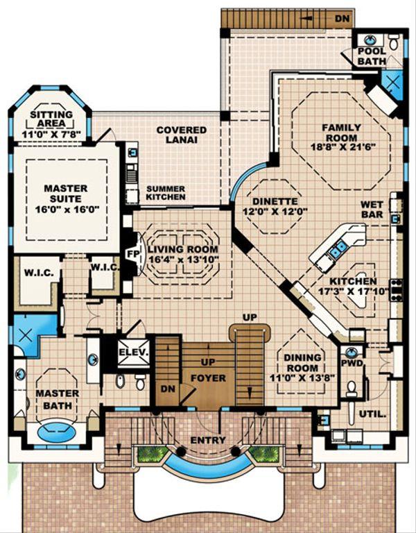 Mediterranean Floor Plan - Main Floor Plan Plan #27-433