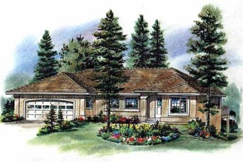 Mediterranean Exterior - Front Elevation Plan #18-1009