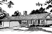 Ranch Style House Plan - 3 Beds 1.5 Baths 1231 Sq/Ft Plan #47-523 Exterior - Front Elevation