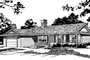 Ranch Exterior - Front Elevation Plan #47-523