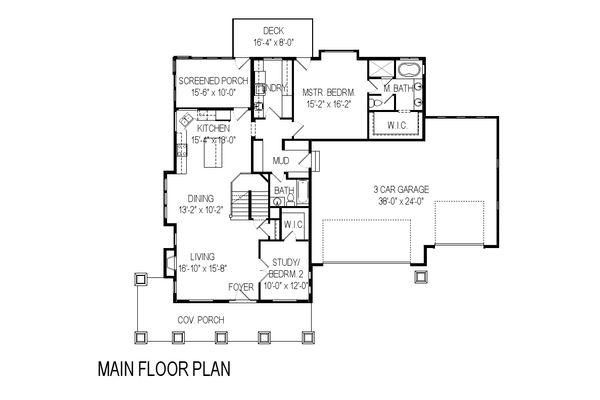 Craftsman Floor Plan - Main Floor Plan Plan #920-5