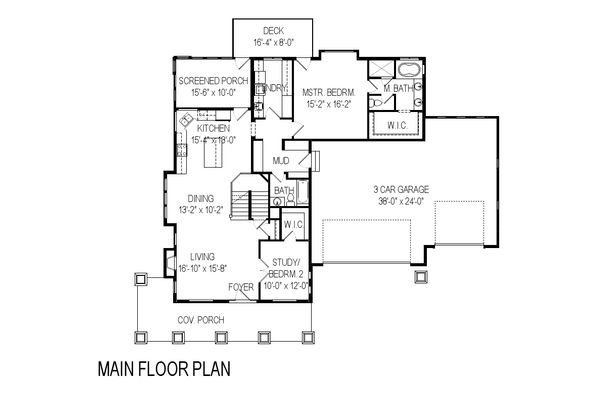 Craftsman Floor Plan - Main Floor Plan Plan #920-5