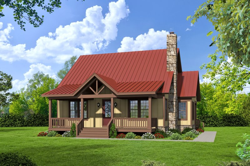Cabin Exterior - Front Elevation Plan #932-48