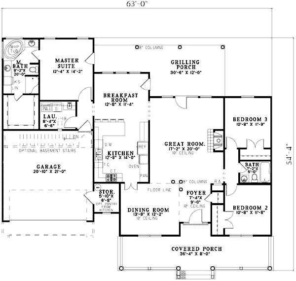Traditional Floor Plan - Main Floor Plan Plan #17-1160