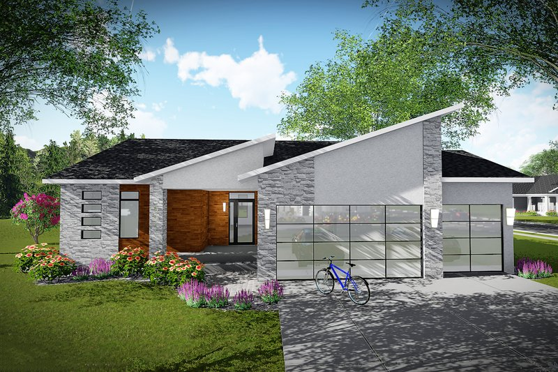 Home Plan - Contemporary Exterior - Front Elevation Plan #70-1490