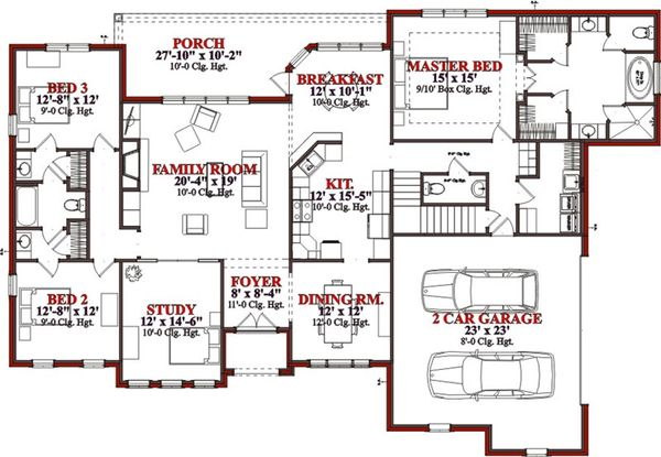 Traditional Floor Plan - Main Floor Plan Plan #63-327