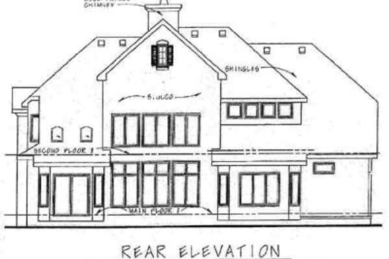 European Exterior - Rear Elevation Plan #20-1392 - Houseplans.com
