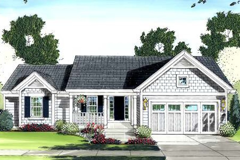 Cottage Exterior - Front Elevation Plan #46-410
