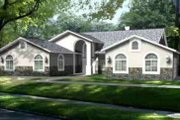 Adobe / Southwestern Style House Plan - 4 Beds 3 Baths 2970 Sq/Ft Plan #1-732 Exterior - Front Elevation