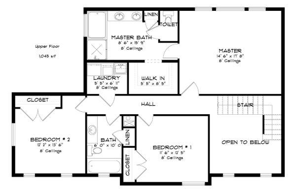 Traditional Floor Plan - Upper Floor Plan Plan #1060-37