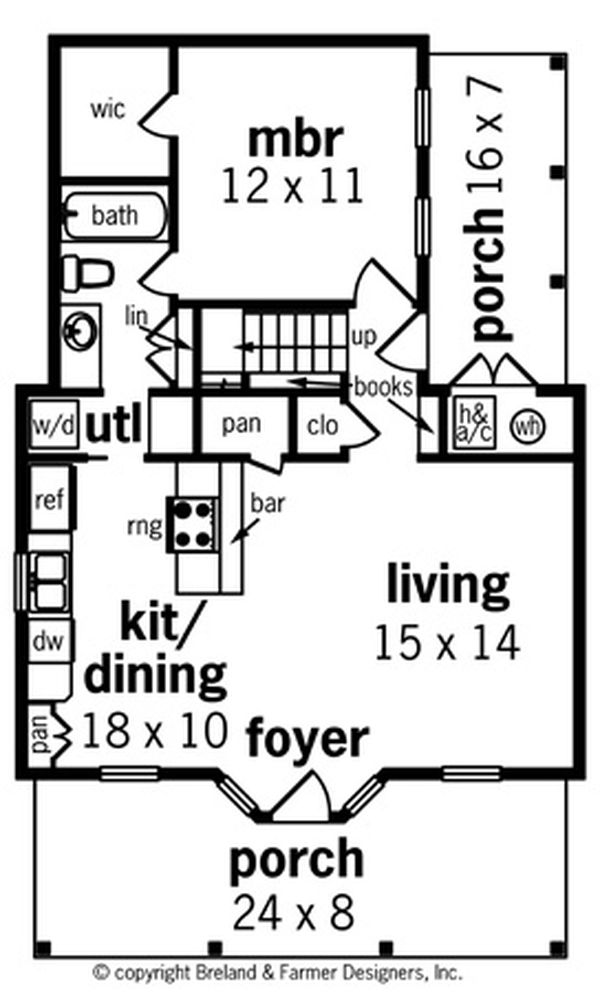 House Blueprint - Cottage Floor Plan - Main Floor Plan #45-589