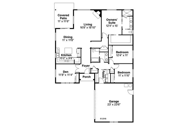 Ranch Floor Plan - Main Floor Plan Plan #124-1096