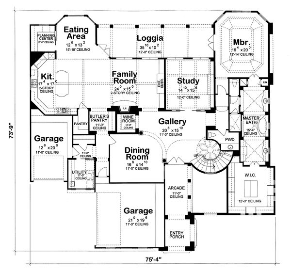 Mediterranean Floor Plan - Main Floor Plan #20-1732
