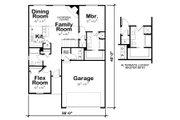 European Style House Plan - 2 Beds 2 Baths 1136 Sq/Ft Plan #20-2081 Floor Plan - Main Floor Plan