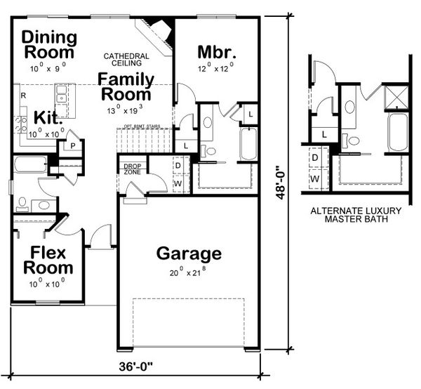 European Floor Plan - Main Floor Plan Plan #20-2081