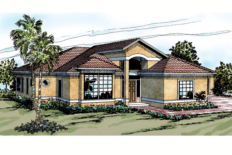 Mediterranean Style House Plan - 3 Beds 2 Baths 1795 Sq/Ft Plan #124-228 Exterior - Front Elevation