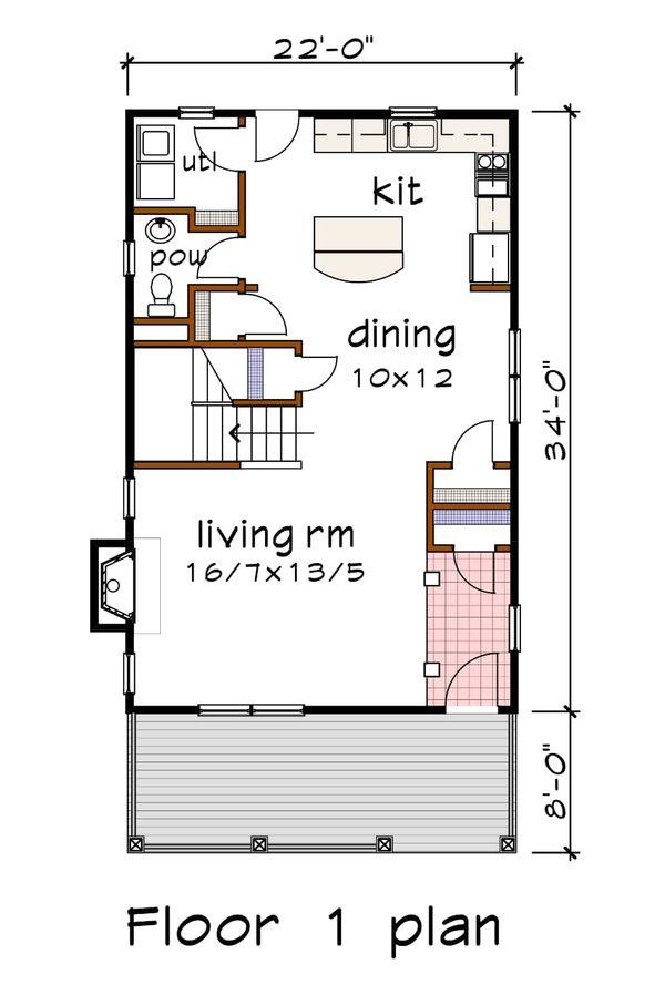 Southern Floor Plan - Main Floor Plan Plan #79-199