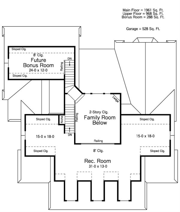 Southern Floor Plan - Upper Floor Plan Plan #51-465